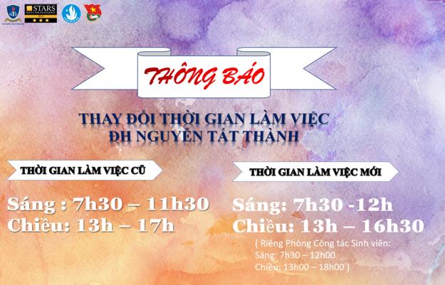 Thay đổi giờ làm việc của trường ĐH Nguyễn Tất Thành